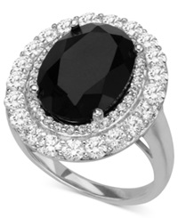 Macy's Sterling Silver Ring Onyx 5 1 2 Ct. T.W. And Cubic Zirconia 2 3 4 Ct. T.W. Ring