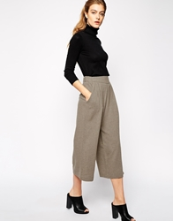 Mango Wide Leg Ankle Length Trouser Beige