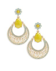 Rj Graziano Cabochon And Crystal Pave Drop Hoop Earrings Multi