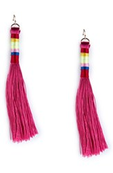 Sole Society Tassel Statement Earrings Pink Multi