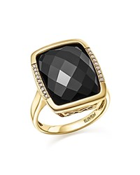 Bloomingdale's Onyx And Diamond Pave Statement Ring In 14K Yellow Gold Black White