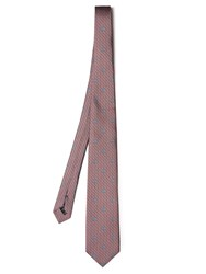 Dunhill Logo Print Silk Tie Red Multi