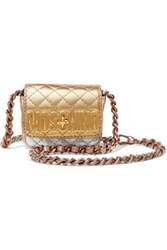 Moschino Metallic Color Block Quilted Leather Shoulder Bag Gold