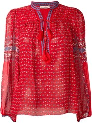 Ulla Johnson Paisley Print Tassel Detail Blouse Red