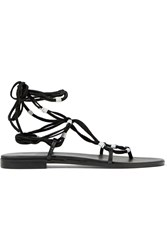Maje Leather And Suede Lace Up Sandals Black