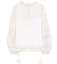 Talitha Embroidered Cotton Top White