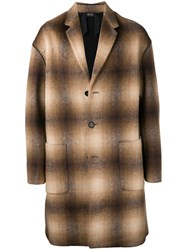 N 21 No21 Checked Single Breasted Coat Neutrals