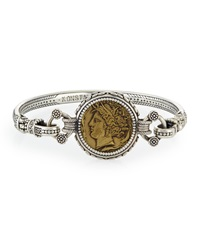 Eros Silver And Bronze Coin Bangle Bracelet Konstantino