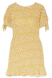 Faithfull The Brand Daphne Bow Detailed Floral Print Crepe Mini Dress Yellow