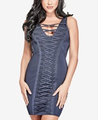 Guess Mirage Lace Up Bodycon Dress Dress Blues