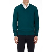 Fioroni Men's Cashmere V Neck Sweater Green
