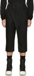 D.Gnak By Kang.D Black Wool Jacquard Cropped Trousers