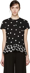 Proenza Schouler Black And White Polka Dot Peplum T Shirt