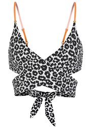 Stella Mccartney Mixed Animals Wrap Around Bikini Top Navy
