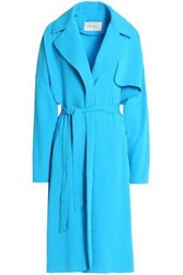 Cedric Charlier Crepe Trench Coat Turquoise