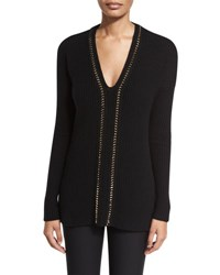 Derek Lam Ribbed V Neck Pullover Sweater Black Gold Black Gold