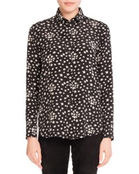 Saint Laurent Star Print Crepe De Chine Blouse Black White Black White