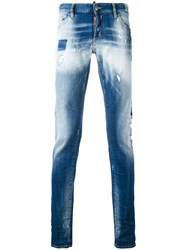Dsquared2 Faded Slim Fit Jeans Men Cotton Spandex Elastane Polyester Calf Leather 48 Blue