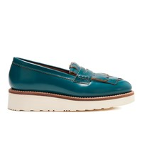 Grenson Women's Juno Leather Frill Loafers Teal Rub Off Blue