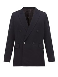 The Row Colin Double Breasted Suit Jacket Navy