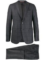 Paoloni Check Two Piece Formal Suit Grey