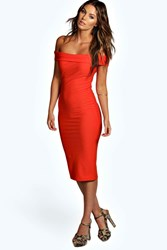 Boohoo Crepe Off Shoulder Midi Bodycon Dress Orange