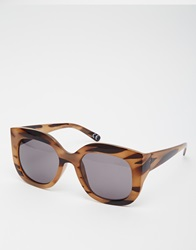 Asos Oversized Sunglasses In Wood Effect Brown