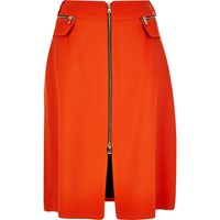 River Island Womens Red Zip Front Midi Skirt