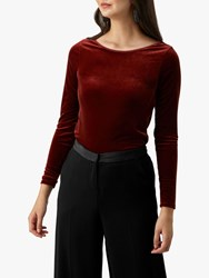 Pure Collection Velour Boat Neck Top Rust