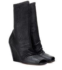 Rick Owens Peep Toe Stretch Suede Ankle Boots Black