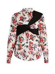 Msgm Floral Print Twisted Panel Cotton Shirt Multi