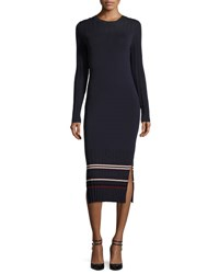 Grey By Jason Wu Long Sleeve Stretch Jersey Midi Dress Midnight Multi