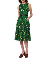 Akris Buttercup Floral Print Belted A Line Dress Forest