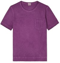 Massimo Alba Panarea Garment Dyed Cotton Jersey T Shirt Purple