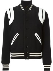 Saint Laurent Leather Patch Varsity Jacket Black