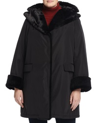 Jane Post Snap Front Long Coat With Faux Fur Trim Black Women's