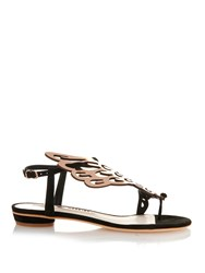 Sophia Webster Seraphina Angel Wings Flat Sandals Black Multi