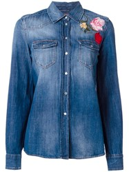 7 For All Mankind Floral Embroidery Denim Shirt Blue