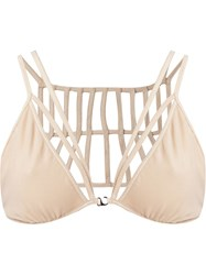 Giuliana Romanno Triangle Strappy Bra Nude And Neutrals