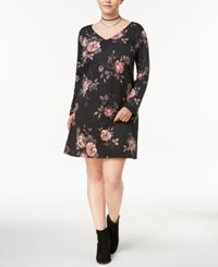 Amy Byer Bcx Trendy Plus Size Lace Up Back Dress Charcoal Spaced Rose