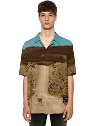 Marcelo Burlon All Over Ostrich Print S S Viscose Shirt Multicolor