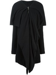 Rick Owens Lilies V Neck Draped Coat Black