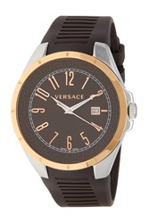 Versace 'S Bicolor Rubber Strap Watch 45Mm Rosegold
