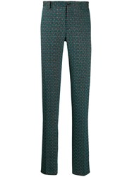 Etro Textured Slim Fit Trousers Green