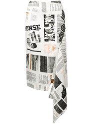 Monse Newspaper Print Skirt Nude And Neutrals