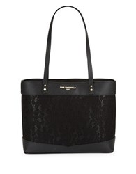 Karl Lagerfeld Lace Leather Tote Black