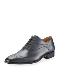 Magnanni Vekio Hand Antiqued Leather Lace Up Oxford Blue