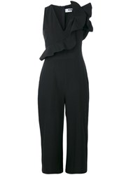 Msgm Ruffled Wide Leg Jumpsuit Women Cotton 42 Black