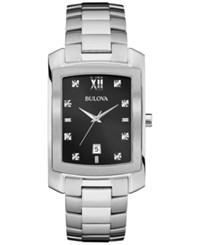 Bulova Men's Diamond Accent Stainless Steel Bracelet Watch 31Mm 96D125 Silver