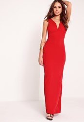 Missguided V Neck Plunge Maxi Dress Red Red